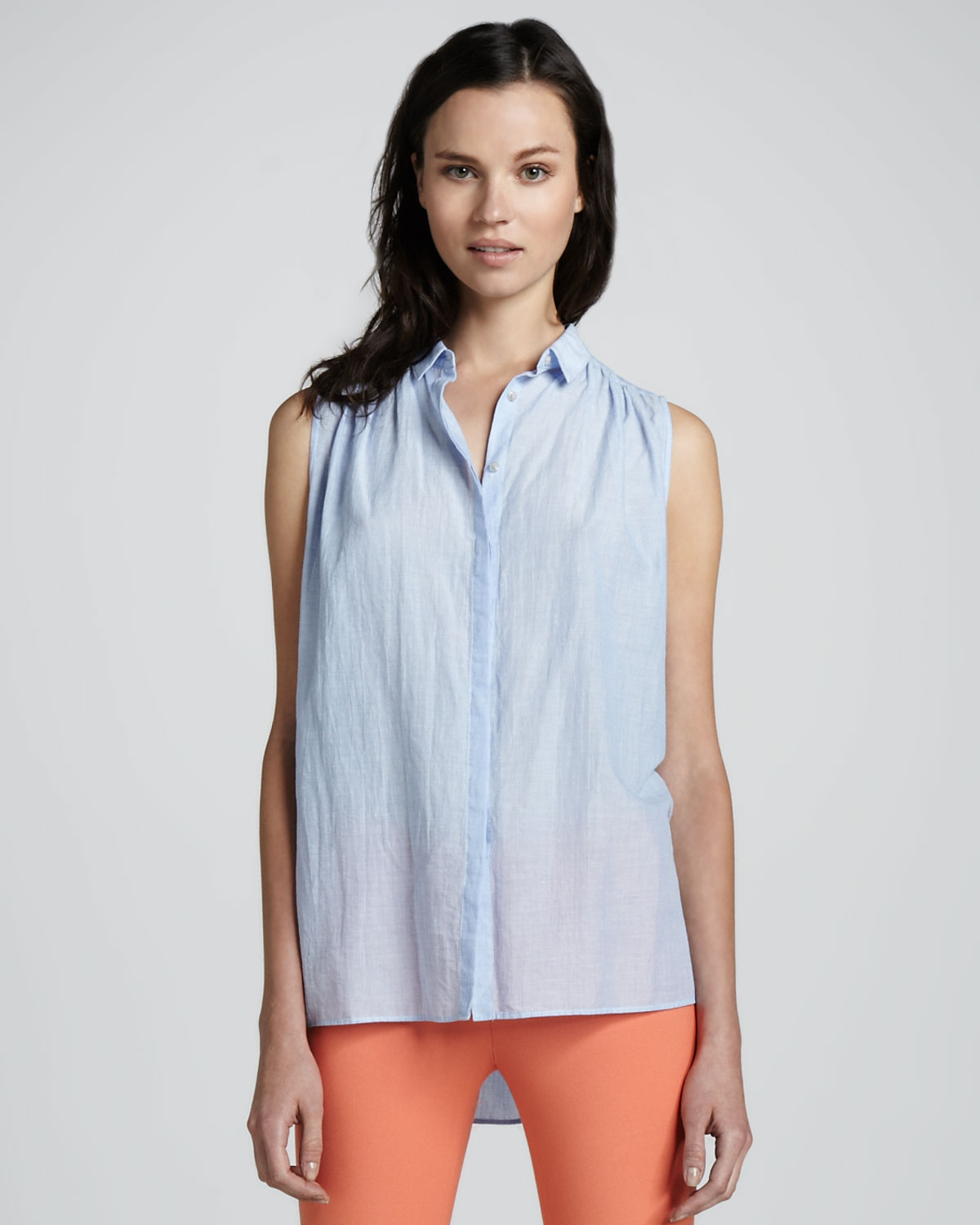Elizabeth and james kasidy sleeveless chambray top in blue for Chambray top