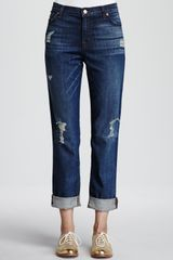J Brand Aiden Flintlock Distressed Boyfriend Jeans - Lyst