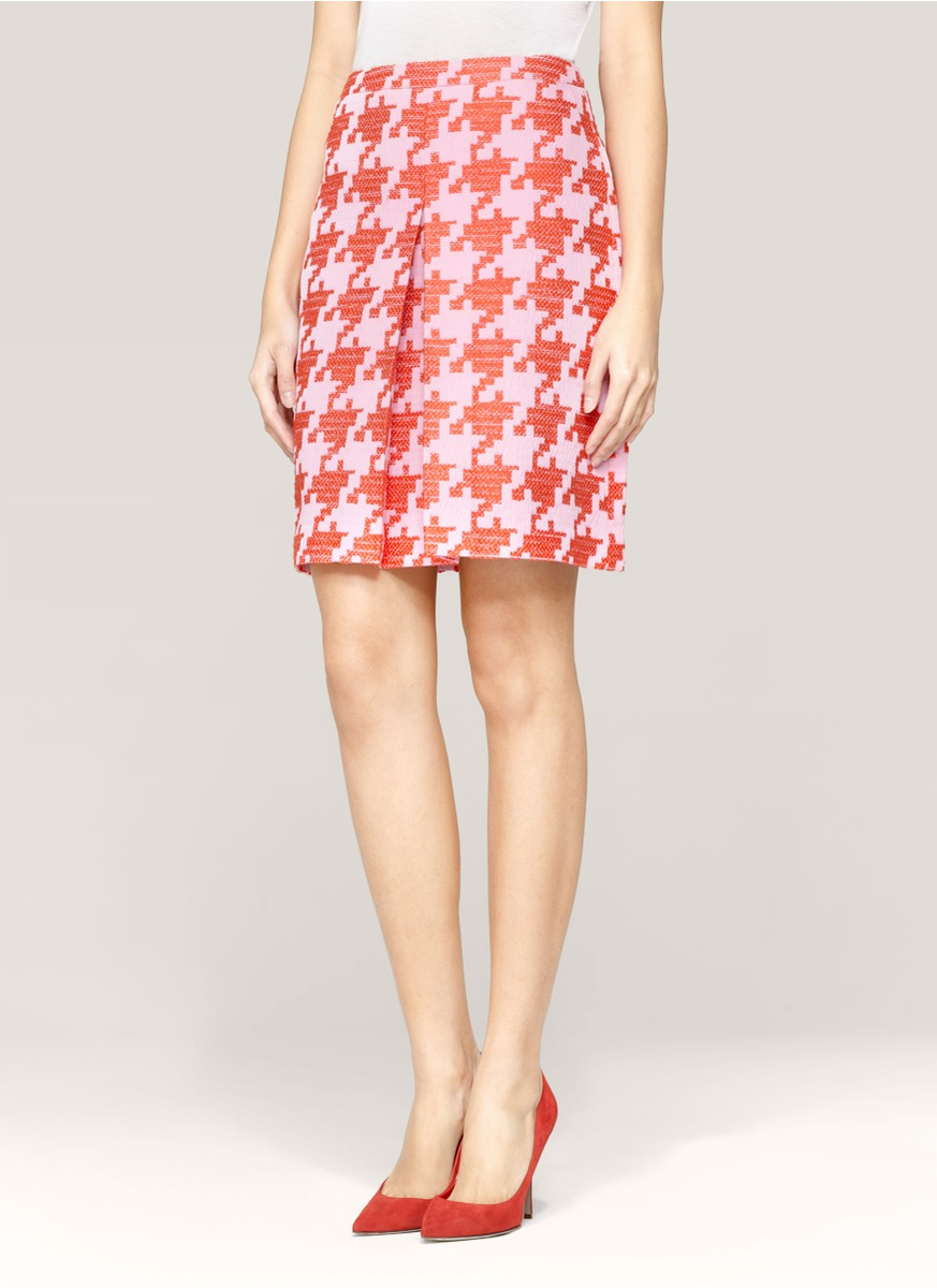 Lyst J Crew Pixelated Houndstooth Skirt In White