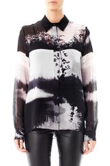 Mary Katrantzou Wood Stick Print Silk Blouse - Lyst