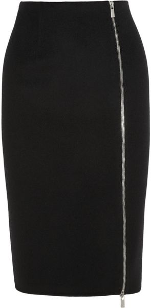Michael Kors Zipped Felted wool Pencil Skirt - Lyst