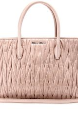 Miu Miu Matelassé Leather Tote - Lyst