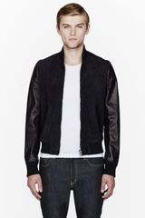 Pierre Balmain Navy Suede and Leather Bomber Jacket - Lyst