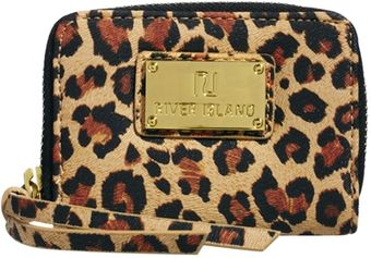 River Island Mini Leopard Print Zip Around Purse - Lyst
