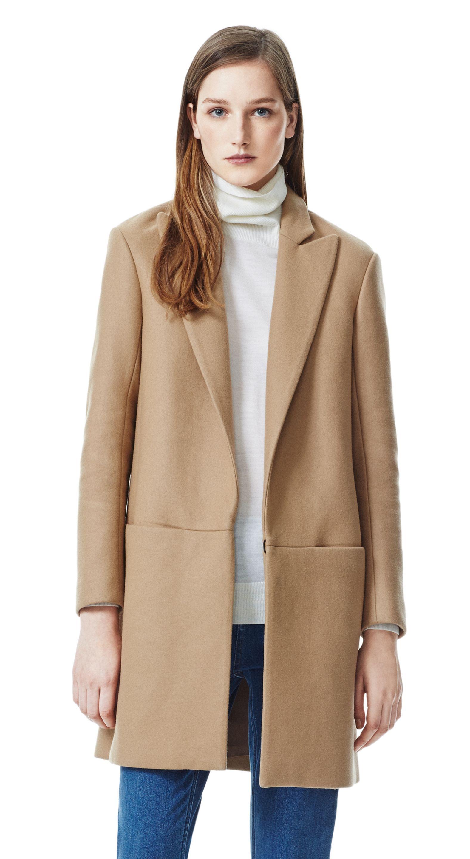 Theory Elibeth Coat In Roanoke Wool Blend In Beige Camel