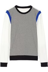 Tibi Houndstooth Cottonblend and Ponte Sweatshirt - Lyst
