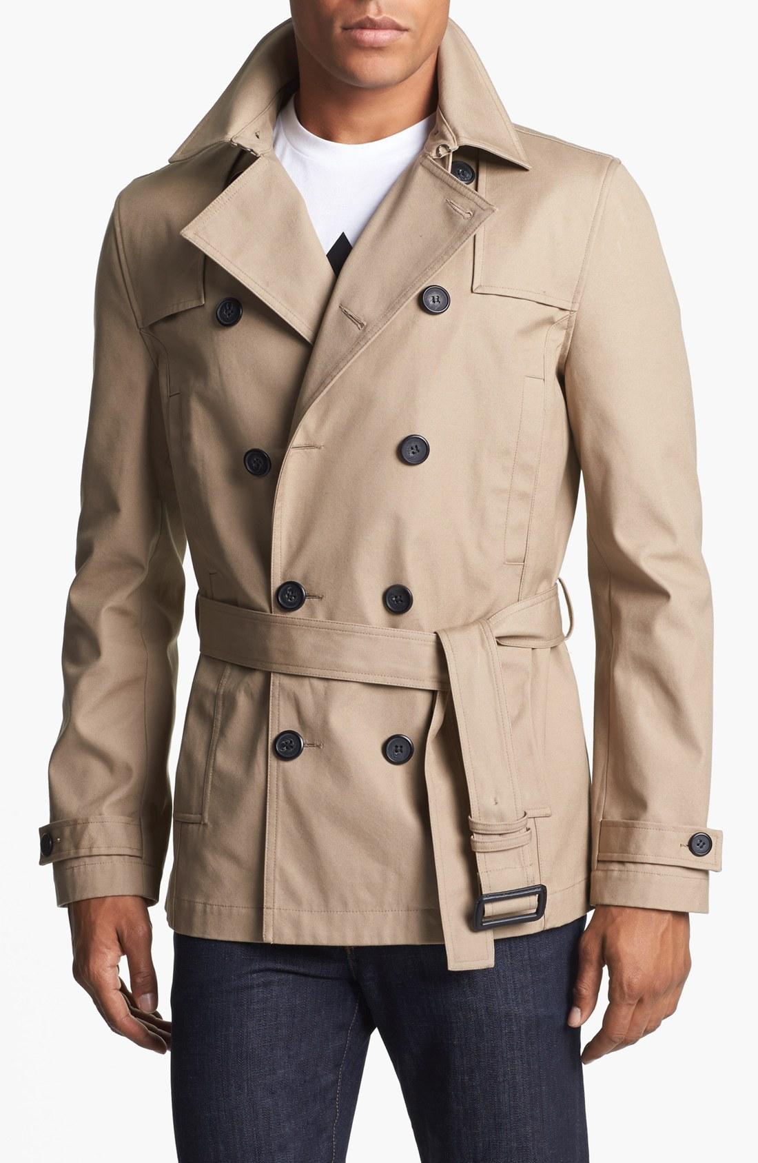 Topman Melville Short Trench Coat in Natural for Men | Lyst