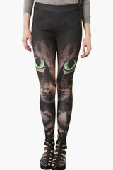 Topshop Photo Cat Print Leggings - Lyst