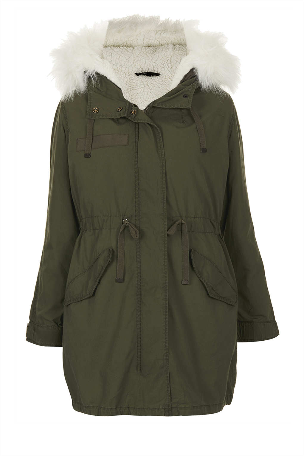 Topshop Petite Khaki Parka Coat in Natural | Lyst