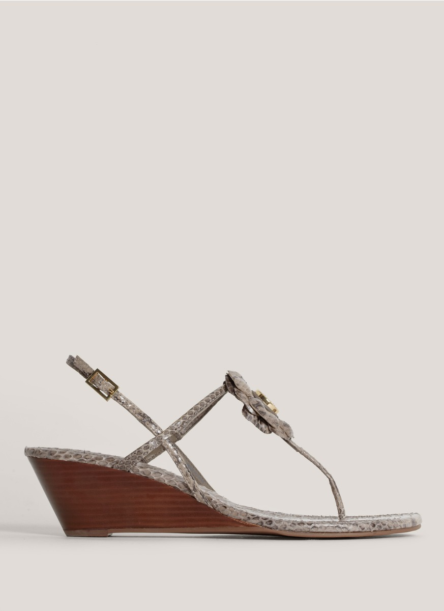 Lyst Tory Burch Shelby Snake Skin Wedge Sandals In Gray