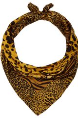 Versace Gold Animal Print Silk Scarf - Lyst