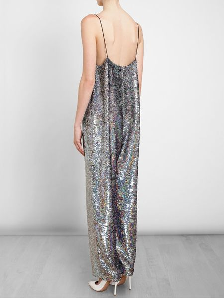 Ashish Holographic Sequin Jumpsuit In Silver Lyst