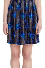 Christopher Kane Floral Velvet Mini Dress - Lyst