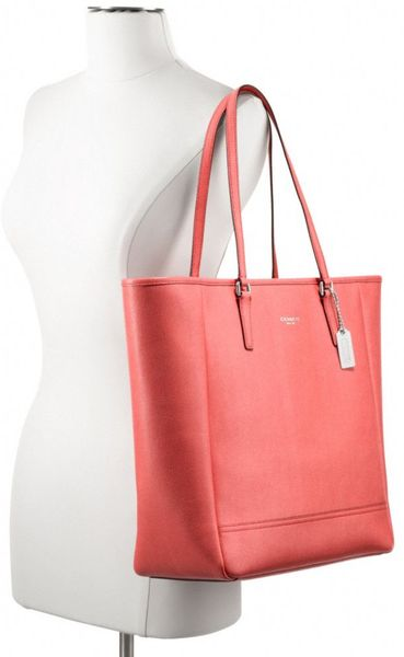 Coach Northsouth City Tote In Saffiano Leather In Pink