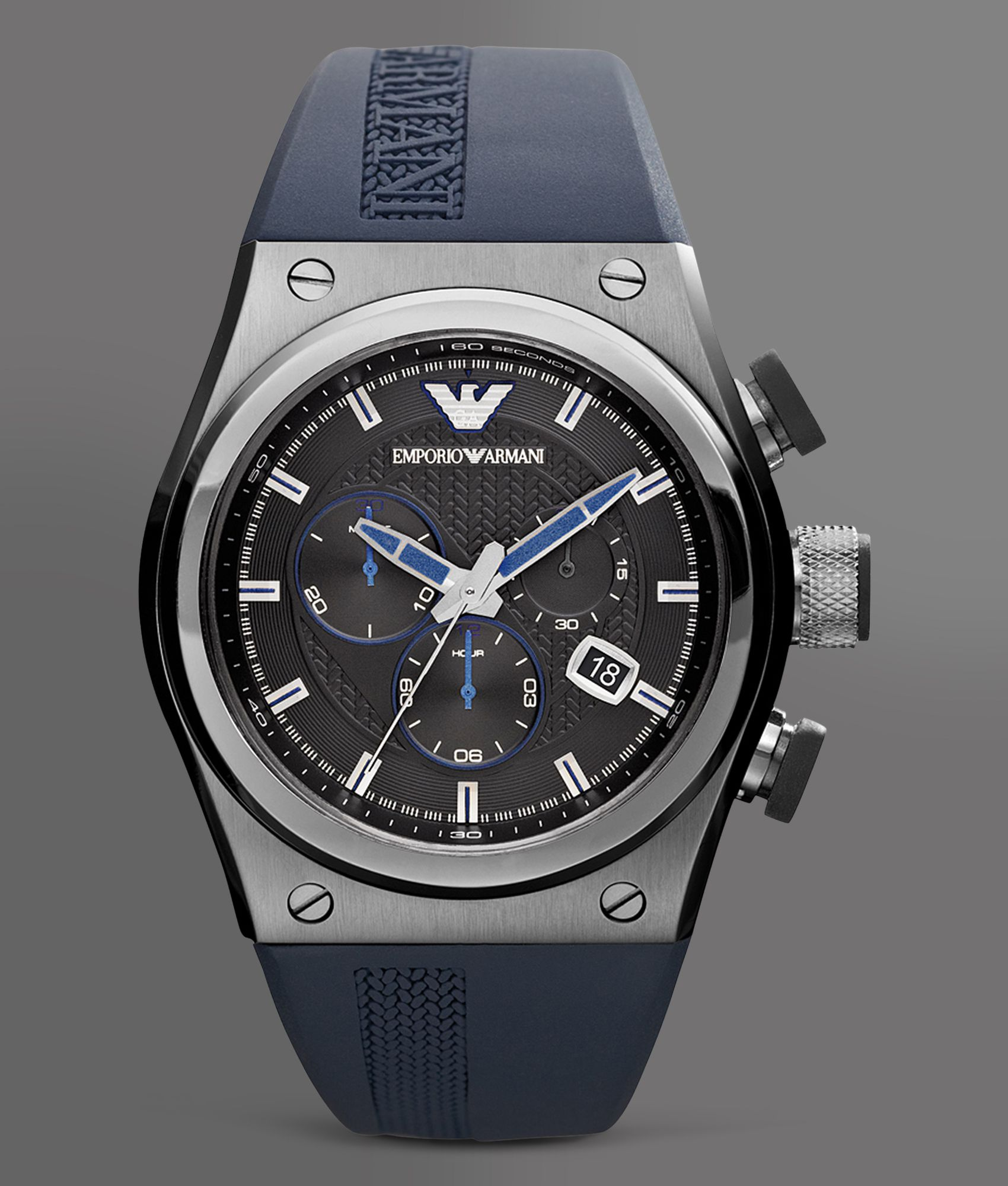 emporio armani sport collection chronograph in blue