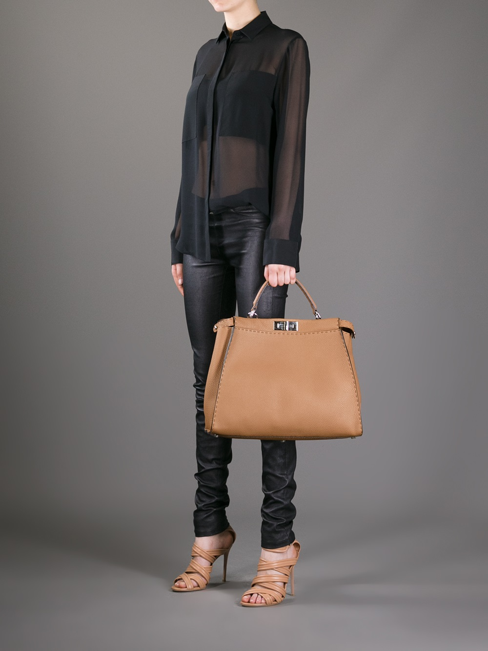 a90a7175b1 Fendi Selleria Peekaboo Tote Bag in Brown - Lyst