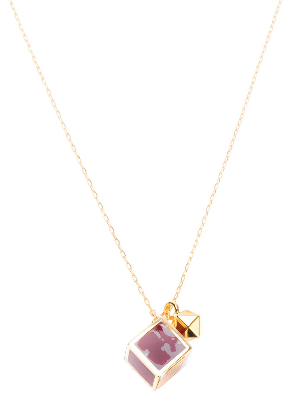 fendi square pendant necklace in gold lyst