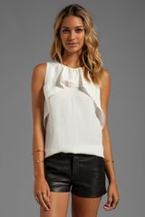 Halston Heritage Sleeveless Crew Neck Ruffle Drape Top in Ivory - Lyst