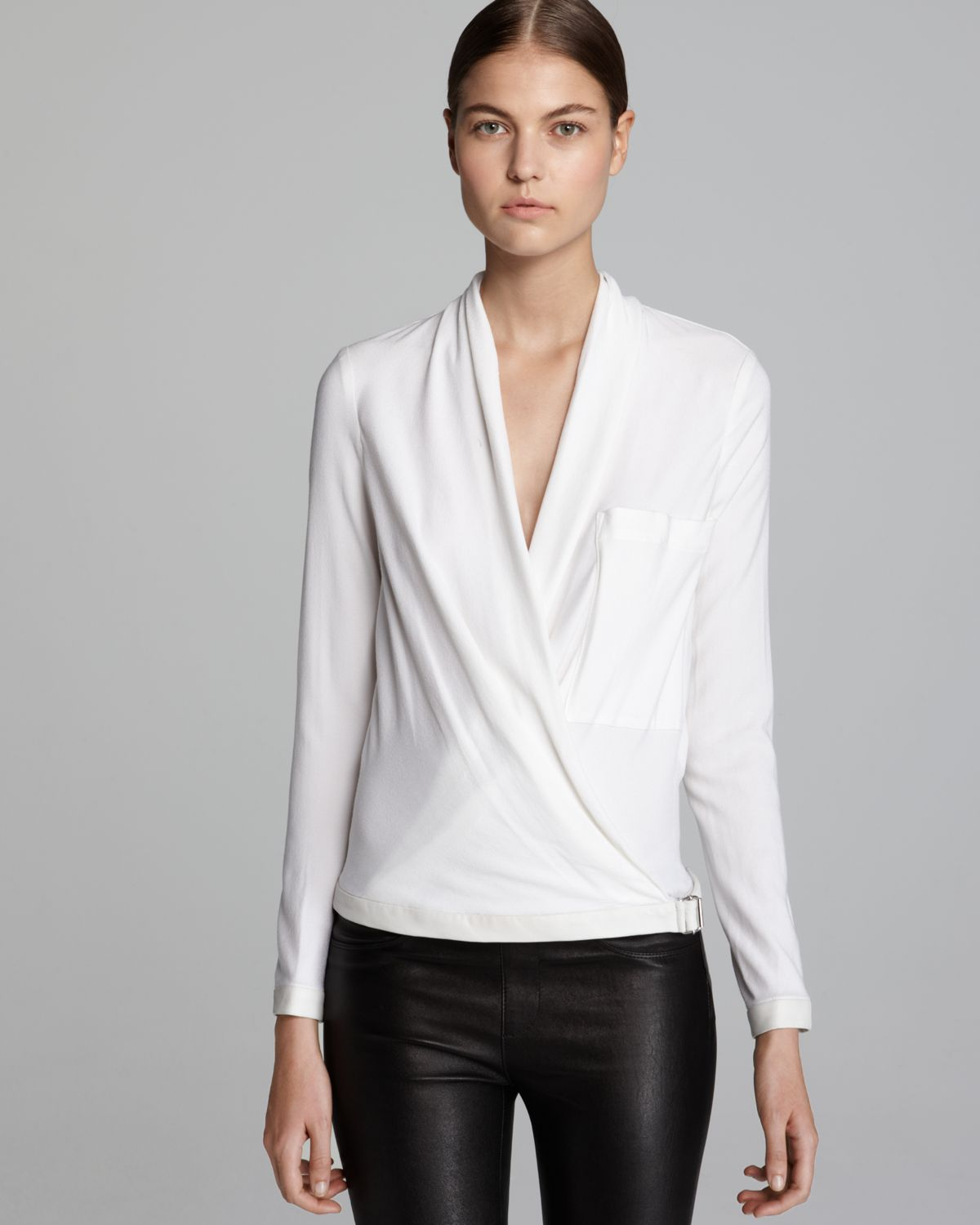 c17aed516830c3 Lyst - Helmut Lang Blouse Morse Drape Long Sleeve in White