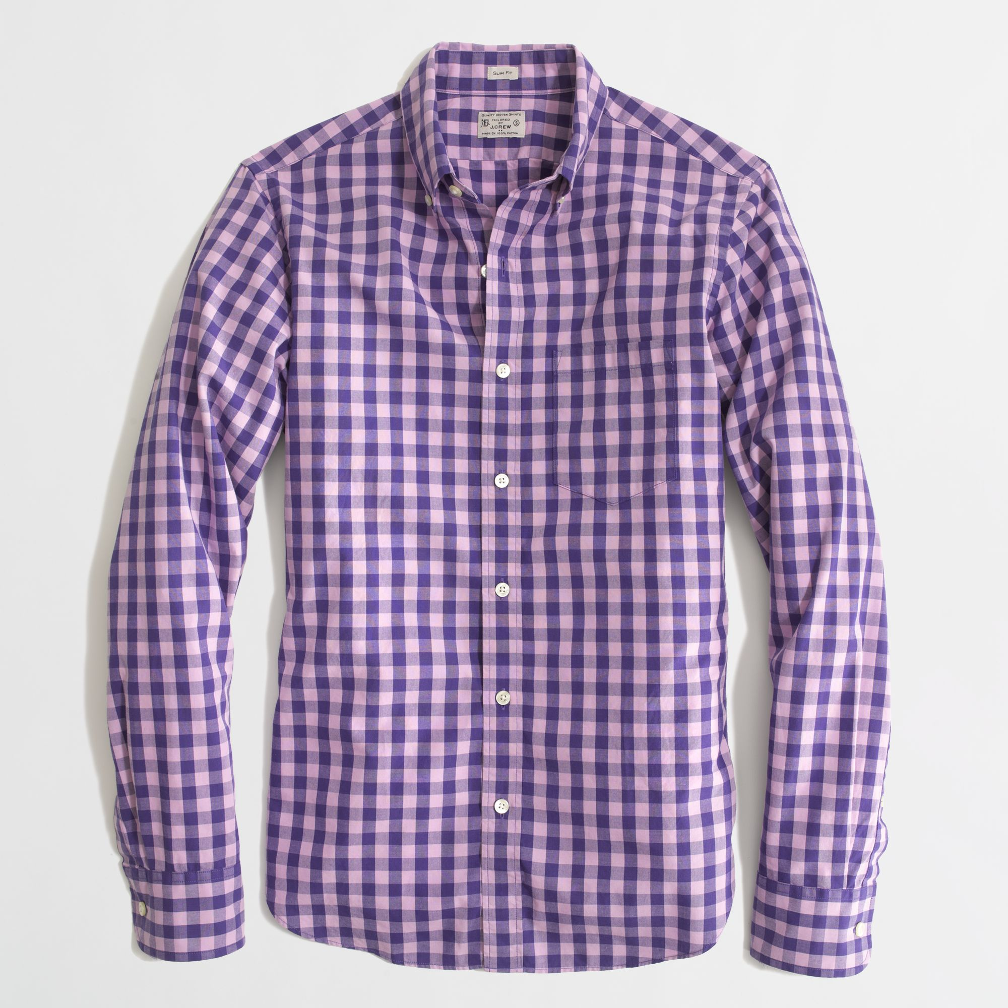 factory slim washed shirt in double gingham in