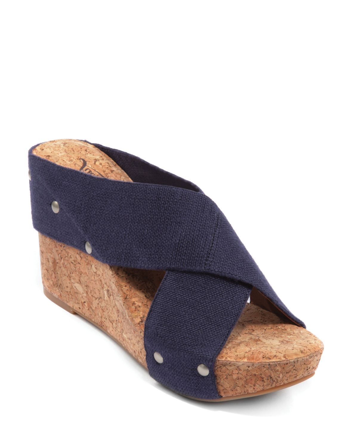 lucky brand miller2 cork wedges in blue moroccan blue lyst