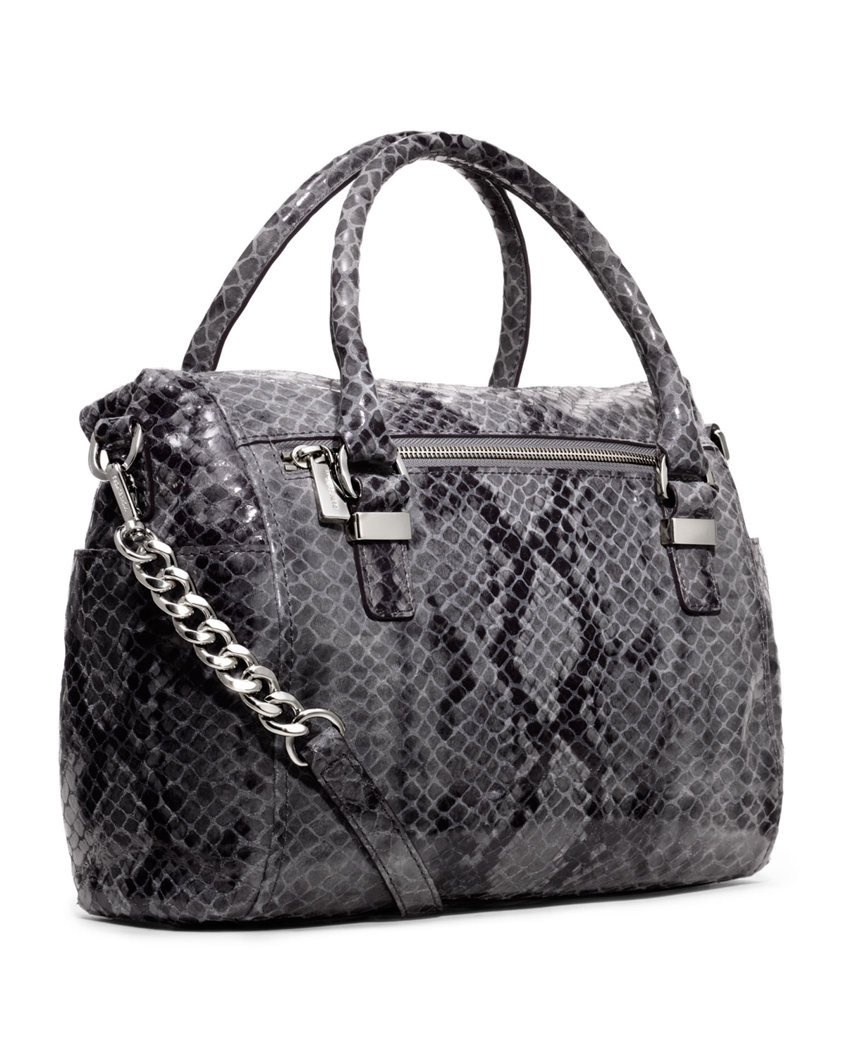 lyst michael kors medium weston snakeprint satchel in gray rh lyst com