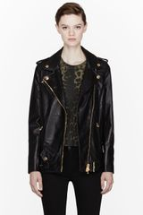 Pierre Balmain Black Leather Classic Biker Jacket - Lyst