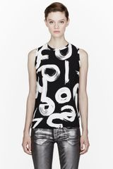 Proenza Schouler Black Ink Brush Logo Print Shell Top - Lyst