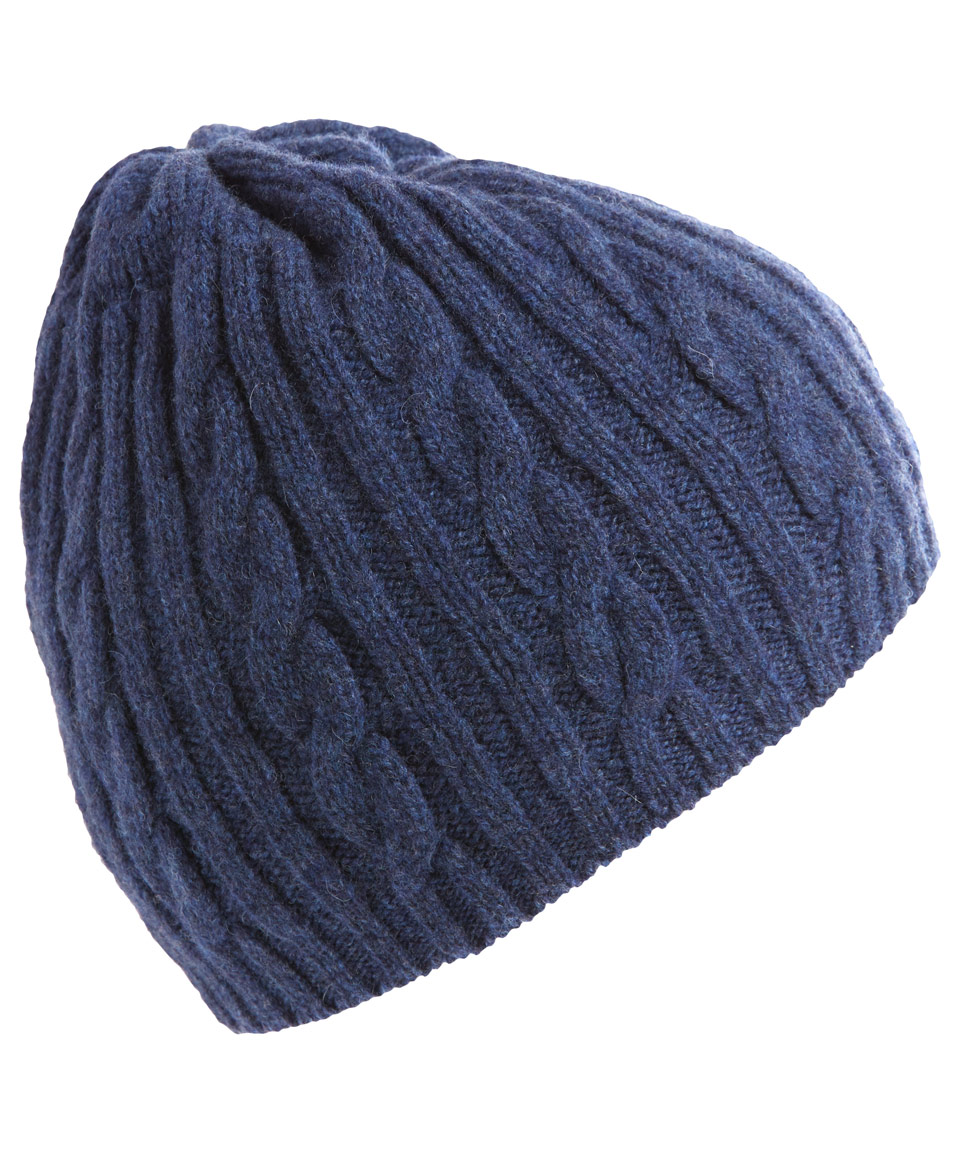 cf67b781b74 Barbour Navy Cable Knit Beanie in Blue for Men - Lyst