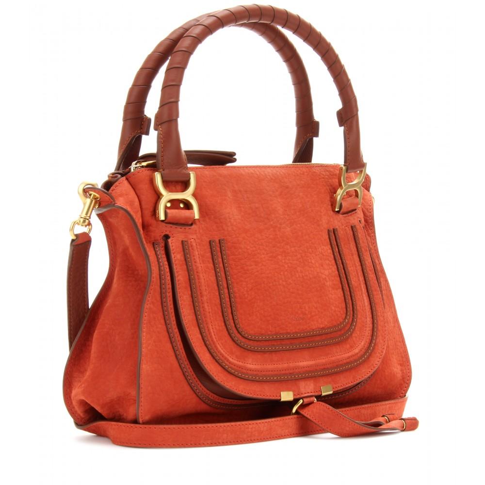 Chlo¨¦ Marcie Medium Suede Handbag in Red (red blush)   Lyst