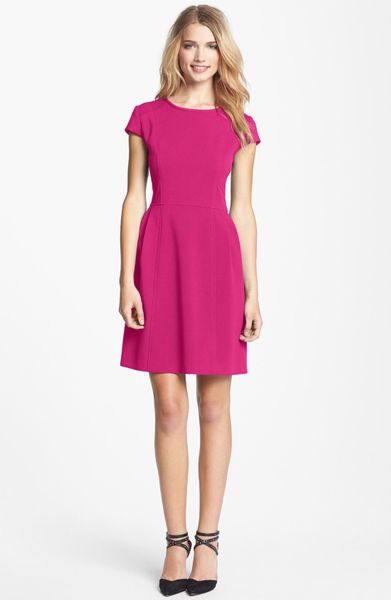 Eliza J Seamed Double Knit Crepe Fit Flare Dress In Pink