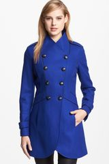 Guess Double Breasted Military Coat - Lyst
