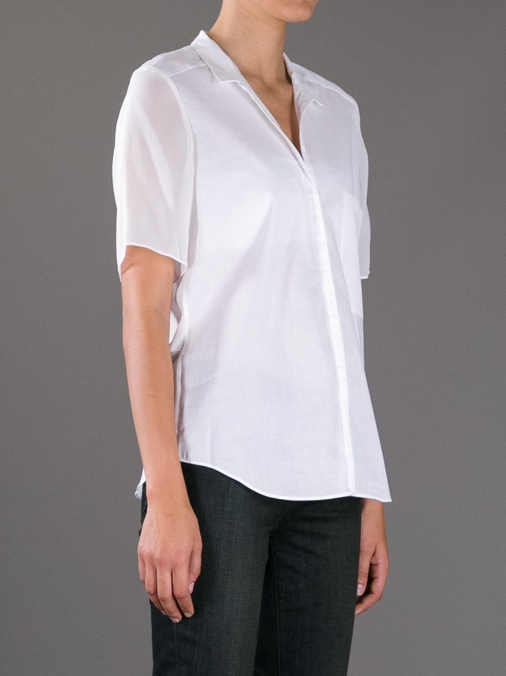 helmut lang short sleeve shirt in white lyst. Black Bedroom Furniture Sets. Home Design Ideas