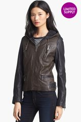 Michael by Michael Kors Hooded Colorblock Leather Jacket - Lyst