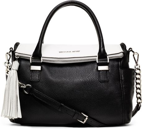 Michael By Michael Kors Medium Weston Twotone Satchel in Black (white) - Lyst