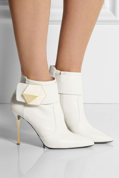 Nicholas Kirkwood Leather Ankle Boots In White Off White