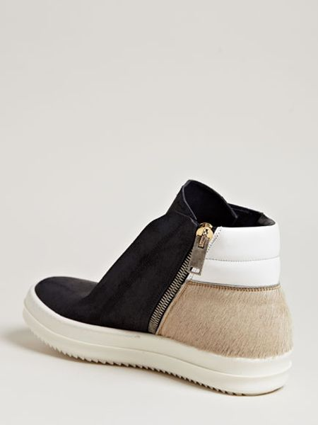 rick owens mens brushed leather island dunk shoes in black