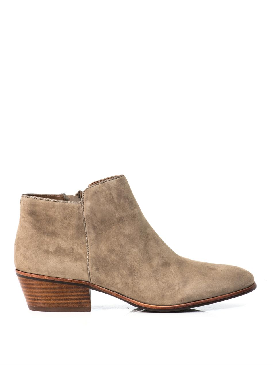 sam edelman petty suede ankle boots in beige lyst. Black Bedroom Furniture Sets. Home Design Ideas