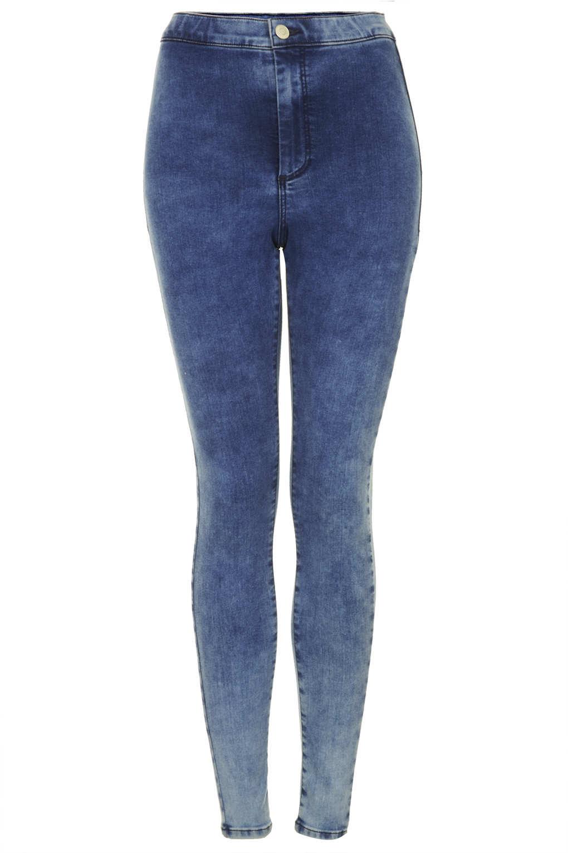 e1347c80bff61 TOPSHOP Moto Mottled Bleach Joni Jeans in Blue - Lyst