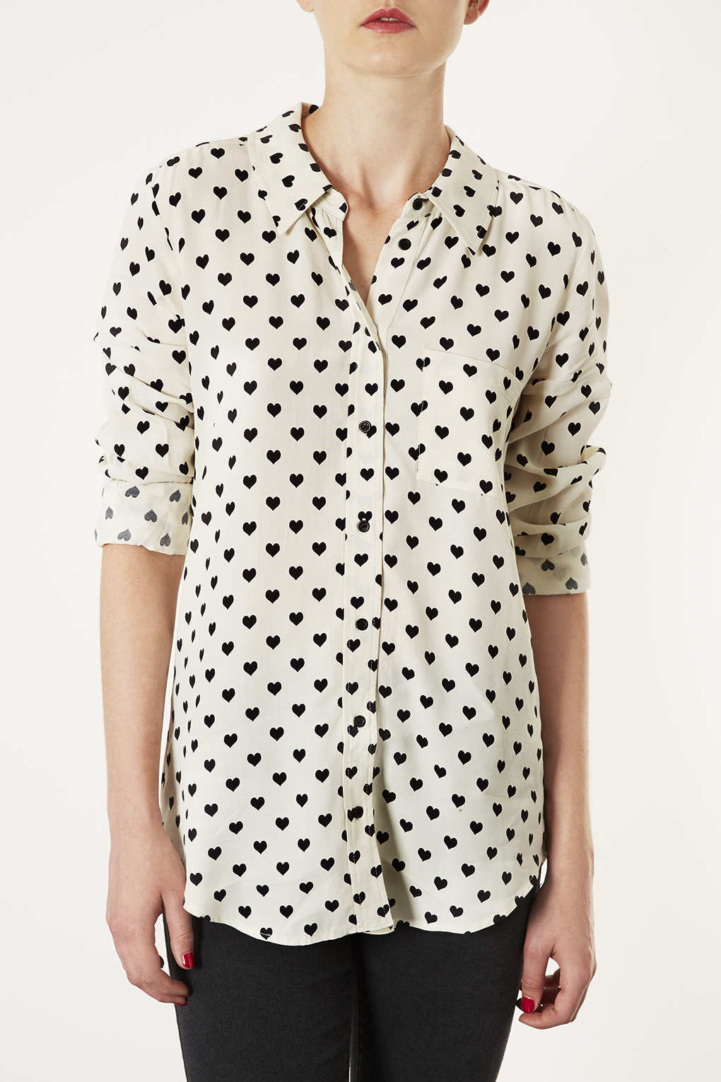 Topshop Long Sleeve Heart Print Shirt In White Lyst
