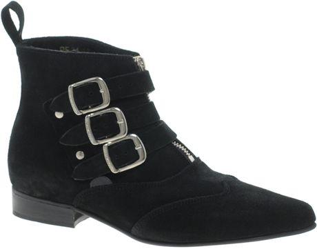 Underground Blitz Suede Winklepicker Ankle Boots in Black