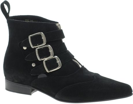 Underground Blitz Suede Winklepicker Ankle Boots in Black - Lyst