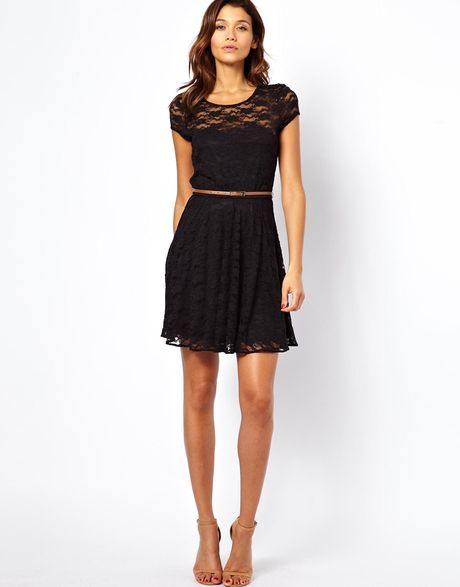 asos lace skater dress with sleeves and belt in