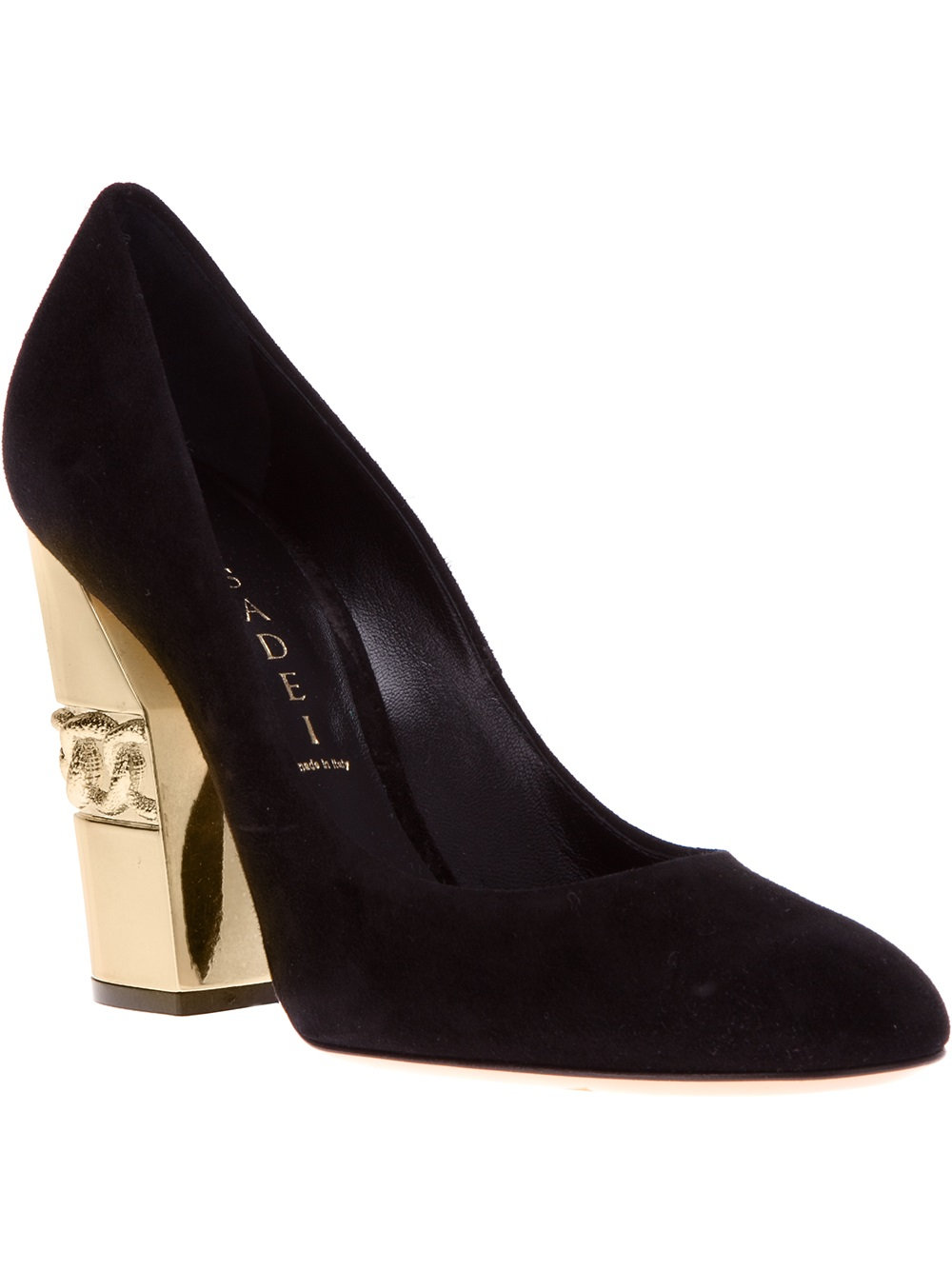 Casadei Chunky Heel Pump in Black  Lyst