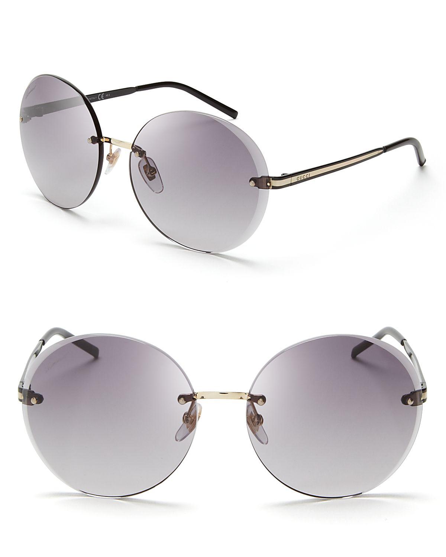 Round Gucci Sunglasses  gucci round rimless sunglasses in gray lyst