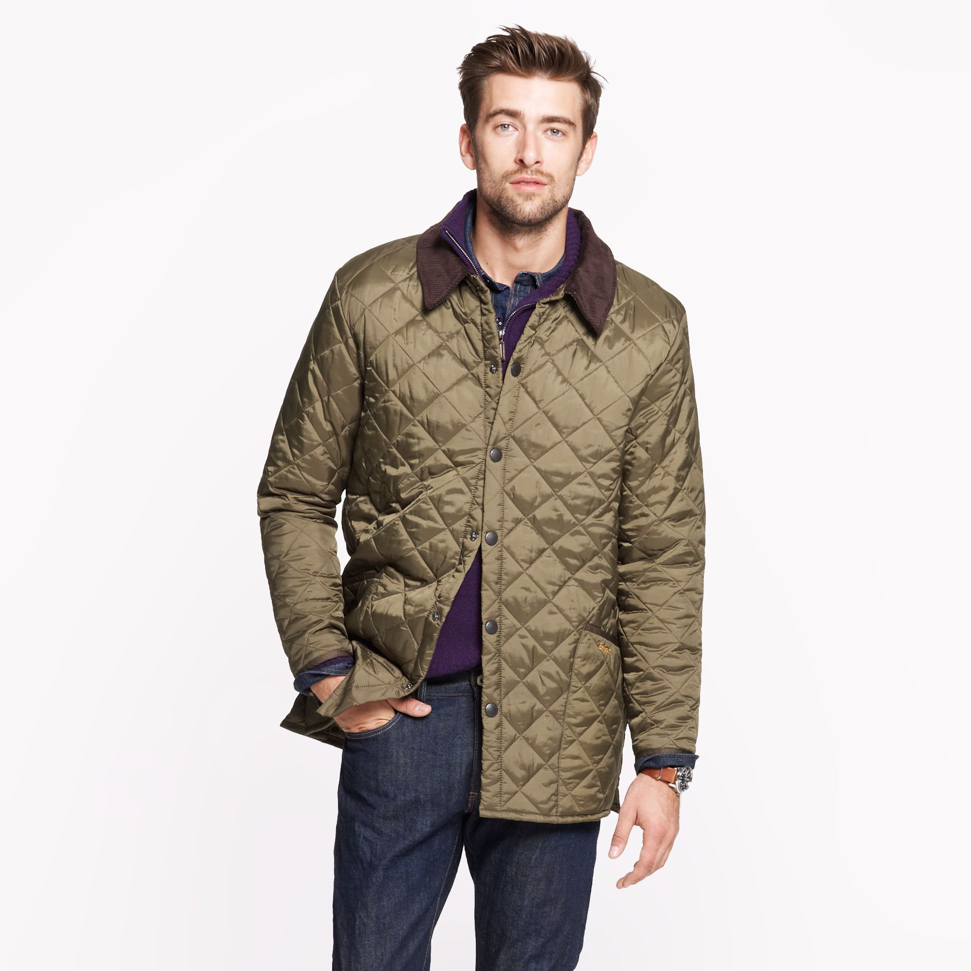 J Crew Barbour Liddesdale Jacket In Green For Men Olive