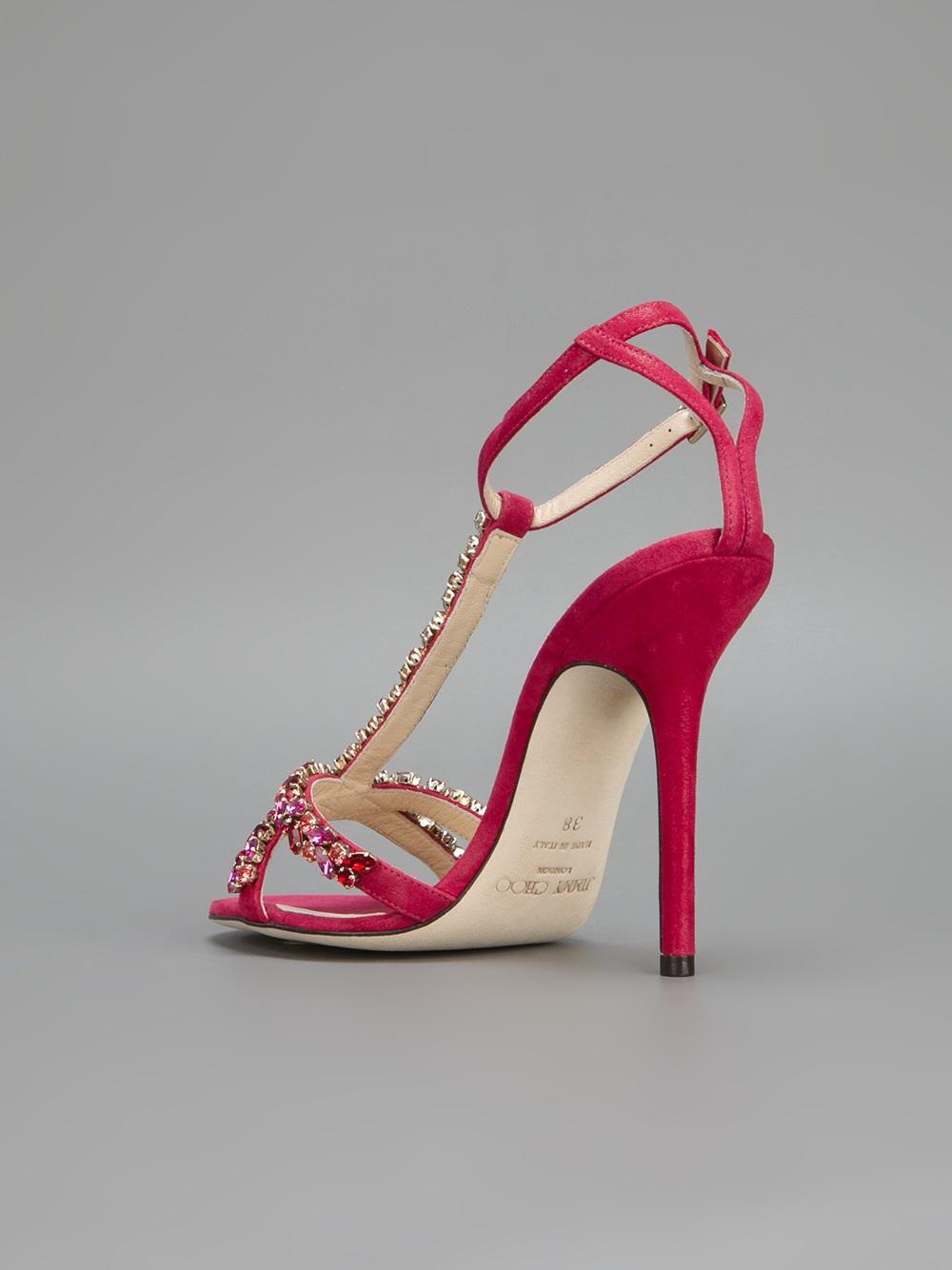 b6c69d96dbb9 Lyst - Jimmy Choo Tayn Embellished Sandal in Red
