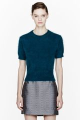 Marc Jacobs Teal Angora Croppes Sweater - Lyst