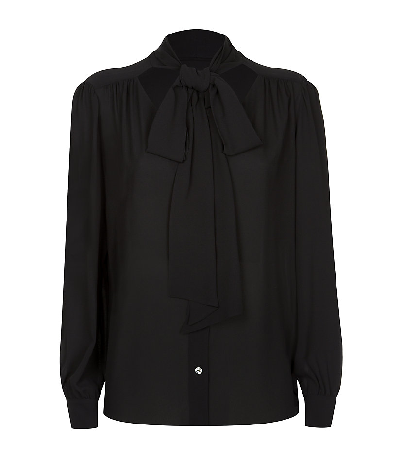 michael kors pussy bow blouse in black lyst. Black Bedroom Furniture Sets. Home Design Ideas