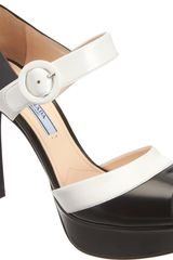 Prada Bicolor Mary Jane Platform Pump - Lyst